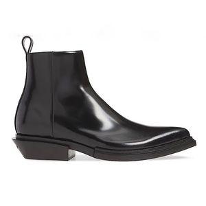 BALENCIAGA Leather Santiag Boot with Logo Heel NIB
